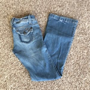 Hydraulic Flare Leg Distressed Jeans Size 5/6